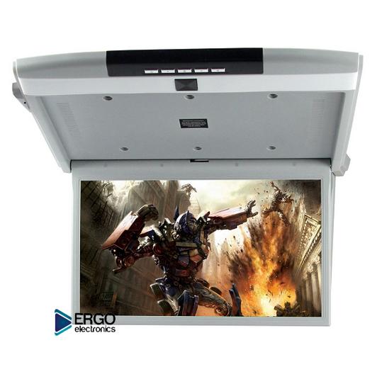 Автомобильный потолочный монитор 15.6 со встроенным Full HD медиаплеером ERGO ER15S (серый) (+ Двухканальные наушники в подарок!)
