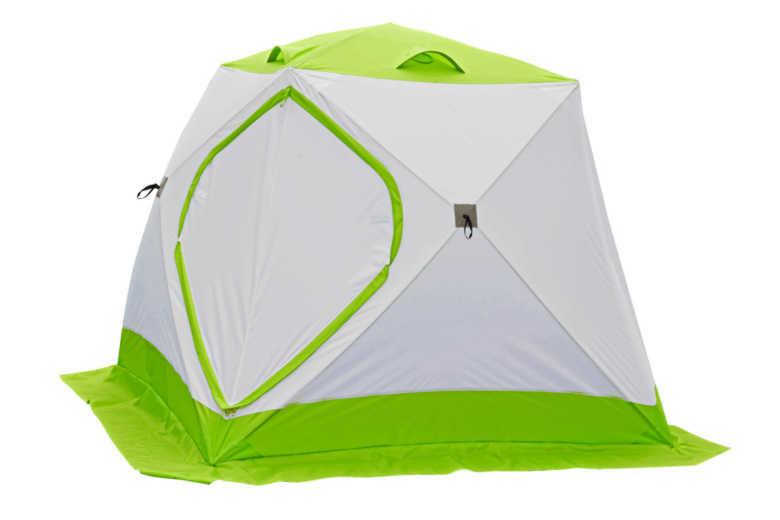 Зимняя палатка Лотос Куб 3 Классик А8 (алюм. каркас, зелёная ) (+ Дарим комплект ввертышей для палаки.)