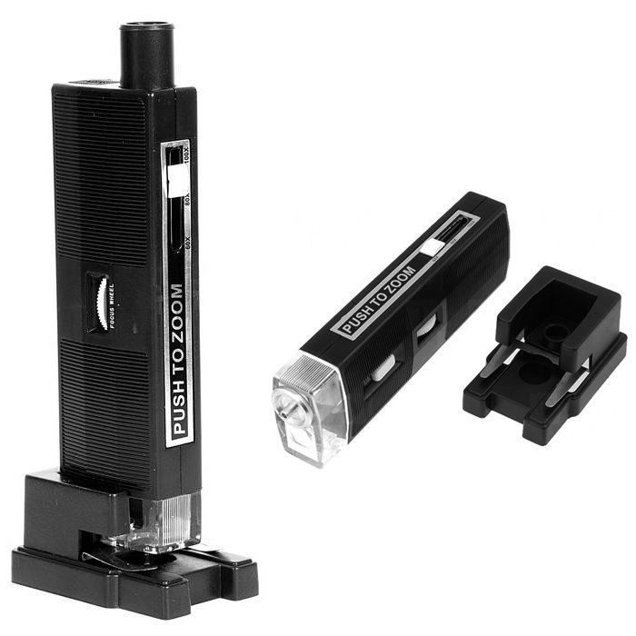 Микроскоп карманный Kromatech 60-100x мини, с креплением для смартфона, подсветкой (1 LED) и ультраф (+ Автомобильные коврики впитывания влаги в подарок!)