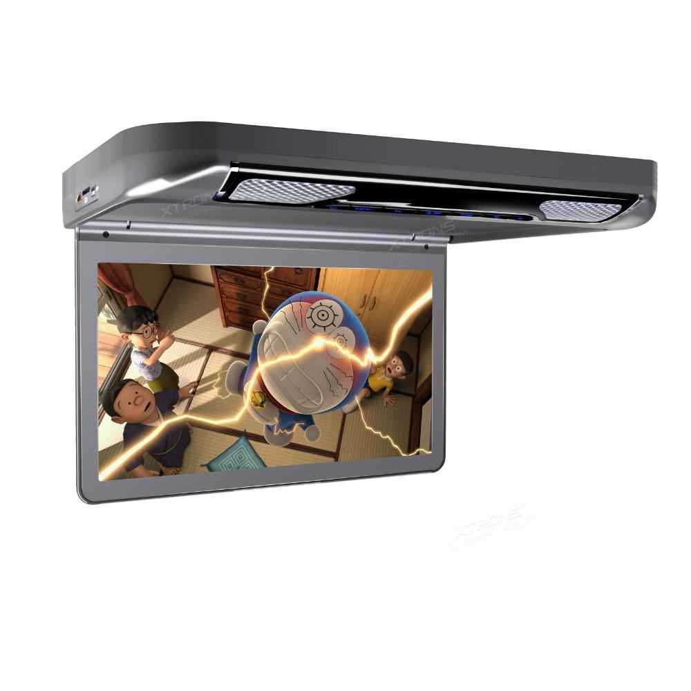 Автомобильный потолочный монитор 13.3 со встроенным Full HD медиаплеером ERGO ER13S-DVD (темно-серый) автомобильный потолочный монитор 17 3 со встроенным full hd медиаплеером ergo er173fh