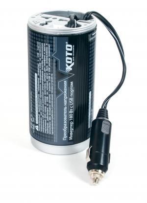 Преобразователь напряжения автомобильный KOTO 12V-503 (12В > 220В, 180Вт, USB) преобразователь напряжения автомобильный koto 12v 501 12в 220в 75 вт