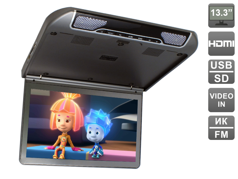 Автомобильный потолочный монитор 13.3 со встроенным FULL HD медиаплеером AVIS AVS440MPP (темно-серый) crenova h80 projector full hd 1080p portable mini lcd home theater game led video proyector with av vga usb sd hdmi