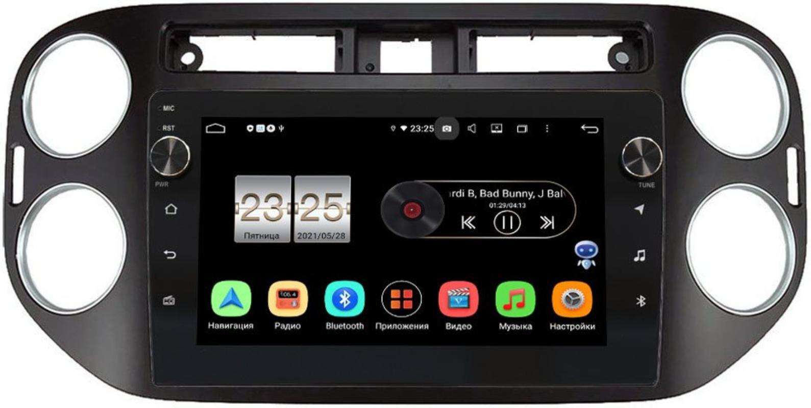 Штатная магнитола Volkswagen Tiguan 2011-2016 LeTrun BPX409-1042 на Android 10 (4/32, DSP, IPS, с голосовым ассистентом, с крутилками) (+ Камера заднего вида в подарок!)