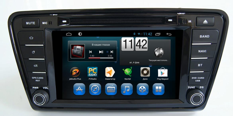 Штатная магнитола CARMEDIA QR-8093 DVD Skoda Octavia A7 2013+ (поддержка штатных настроек)