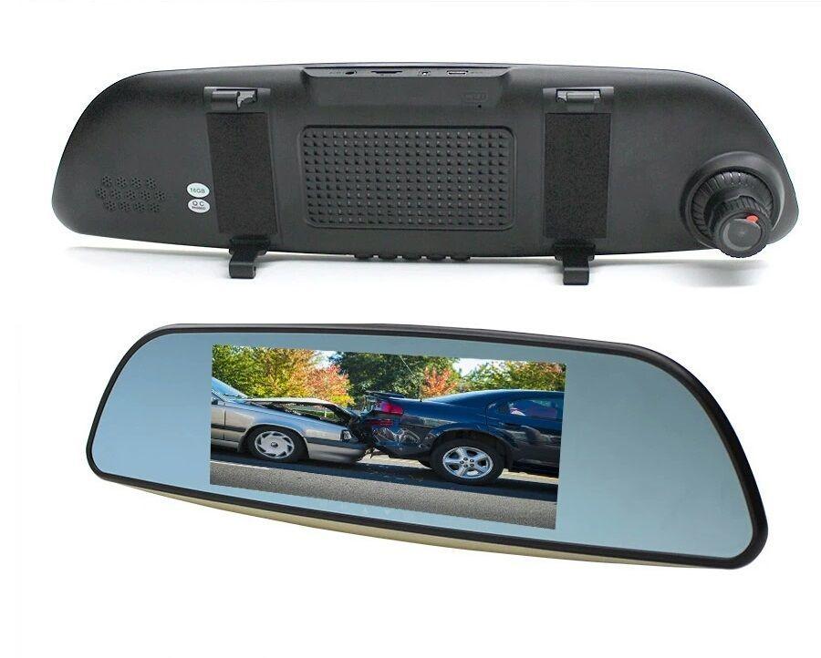 Автомобильный видеорегистратор-зеркало с 2-мя камерами Eplutus D69Eplutus<br>Автомобильный видеорегистратор-зеркало HD Eplutus D69 оснащен двумя камерами: основной и заднего вида. Основная камера имеет широкоугольный панорамный объектив, который обеспечивает угол обзора в 170 градусов – этого более, чем достаточно для того, чтобы захватить в кадр не только проезжую часть, но также обочину, светофоры, дорожные знаки и даже госномера автомобилей, стоящих у обочины.
