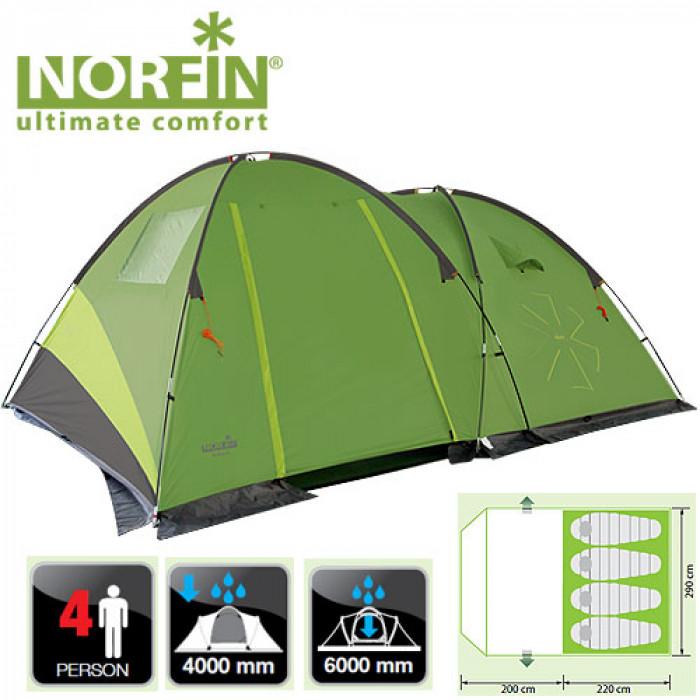 цена на Палатка кемпинговая 4-х местная Norfin POLLAN 4 NF (+ Дарим комплект ввертышей для палаки.)