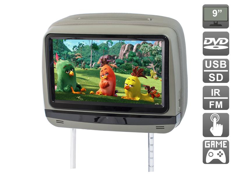 Подголовник с сенсорным монитором 9 и встроенным DVD плеером AVIS Electronics AVS0945T (серый) (+ беспроводные наушники в подарок!) беспроводные ик наушники avis avs002hp двухканальные