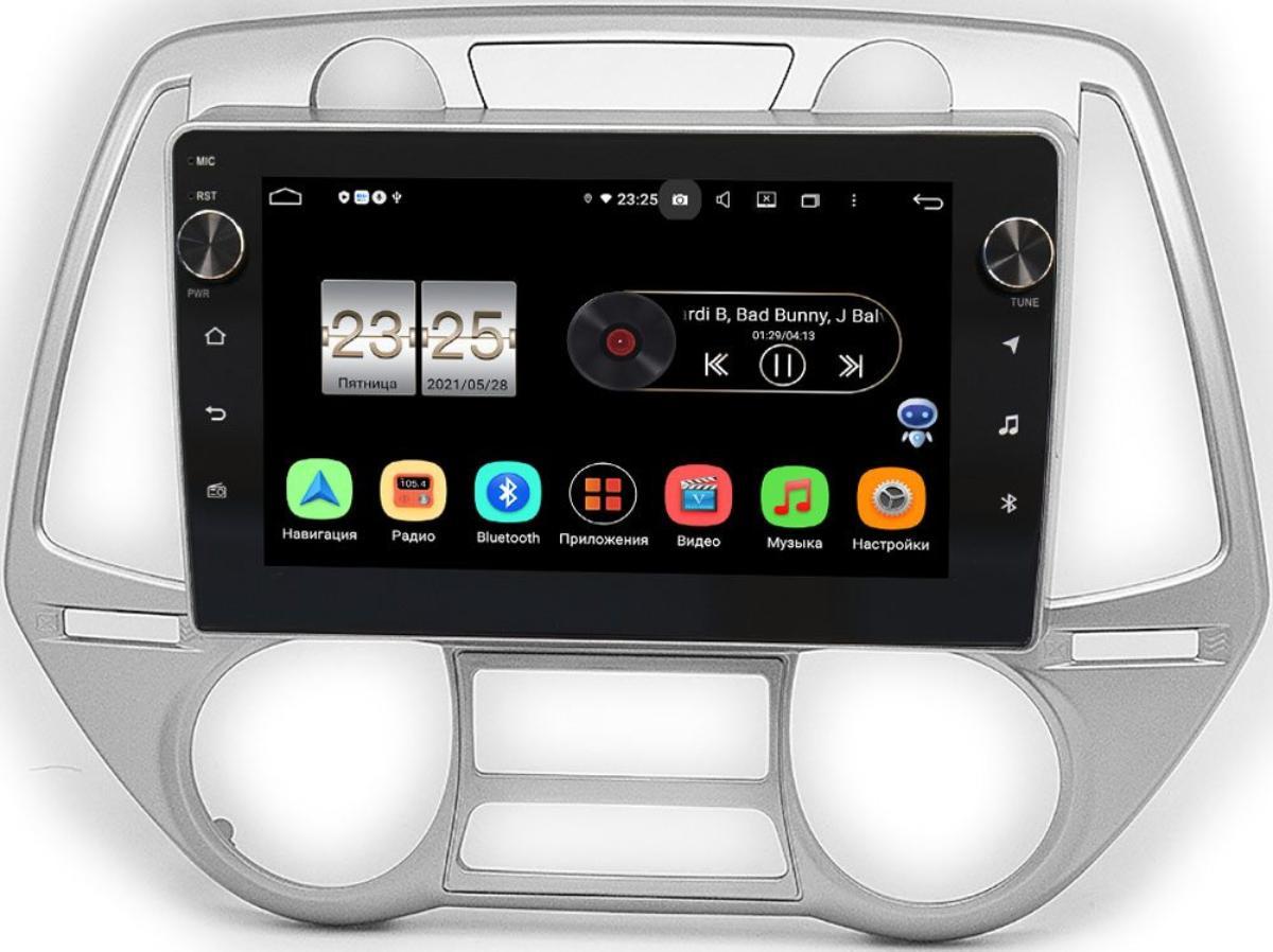 Штатная магнитола Hyundai i20 I 2008-2012 LeTrun BPX409-677 на Android 10 (4/32, DSP, IPS, с голосовым ассистентом, с крутилками) (+ Камера заднего вида в подарок!)