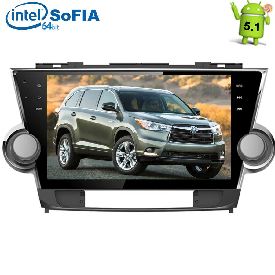 Штатная магнитола для Toyota Highlander (U40) 2007-2013 LeTrun 1600 Android 5.1.1 Intel SoFIA экран 10,2 дюйма vision u40 classic