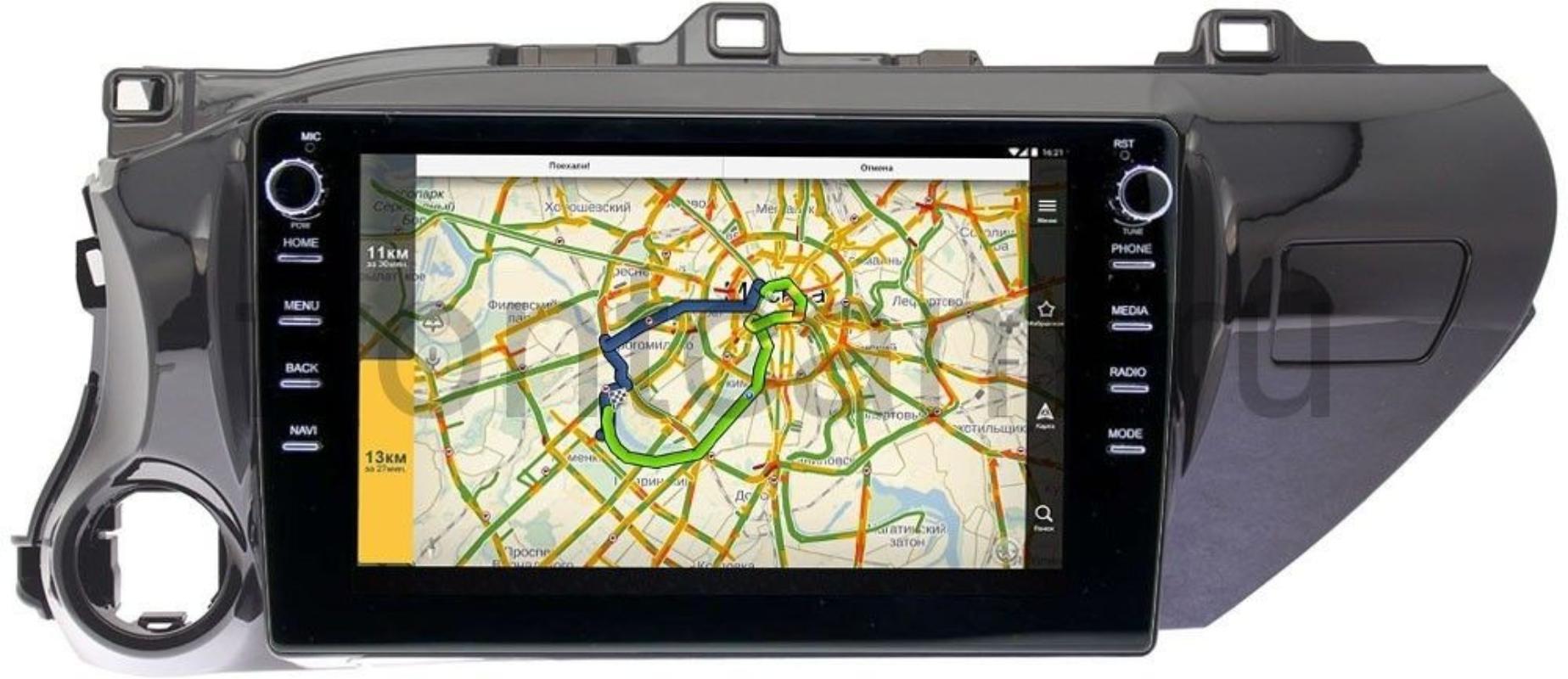 Штатная магнитола Toyota Hilux VIII 2015-2021 LeTrun 3149-1071 на Android 10 (DSP 2/16 с крутилками) (для авто без магнитолы) (+ Камера заднего вида в подарок!)