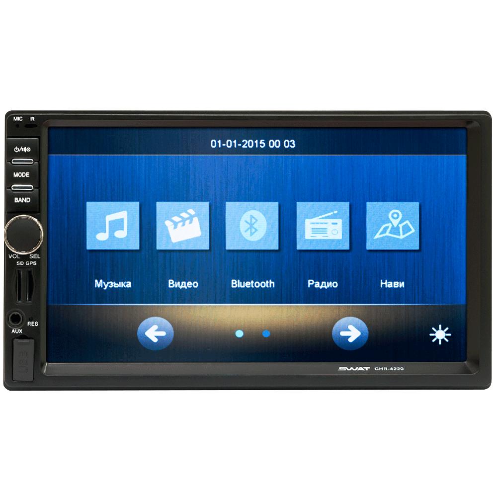 Мультимедийный ресивер SWAT CHR-4220СГSWAT<br>SWAT CHR-4220СГ. Мультимедийный ресивер с навигатором, Bluetooth, USB, Aux-входом и видеовыходом. Также поддерживает управление с кнопок руля и имеет выход на камеру заднего вида.<br>