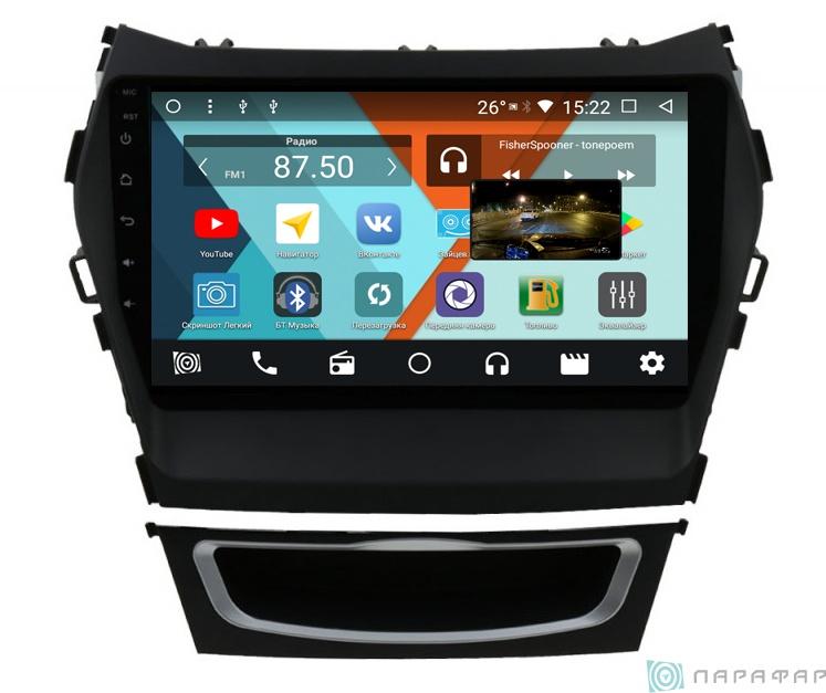 Штатная магнитола Parafar с IPS матрицей для Hyundai Santa Fe 3 2012+ на Android 8.1.0 (PF209K) штатная магнитола гу m500 для hyundai santa fe 2018
