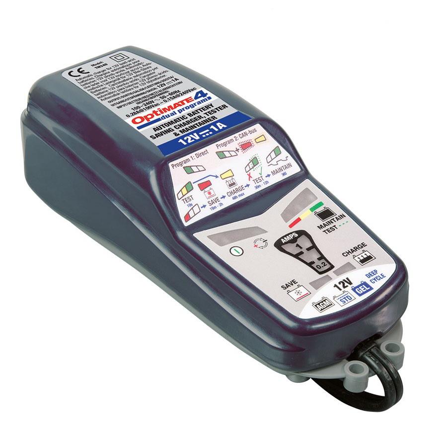 Зарядное устройство Optimate 4 Dual Program кабель в прикуриватель 12в мото din и авто sae optimate o2
