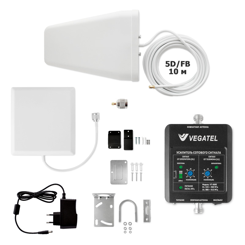 Готовый комплект усиления сотовой связи VEGATEL VT-900E-kit (дом, LED) (+ Кронштейн в подарок!) антенна автомобильная vegatel ant 900 3g awo