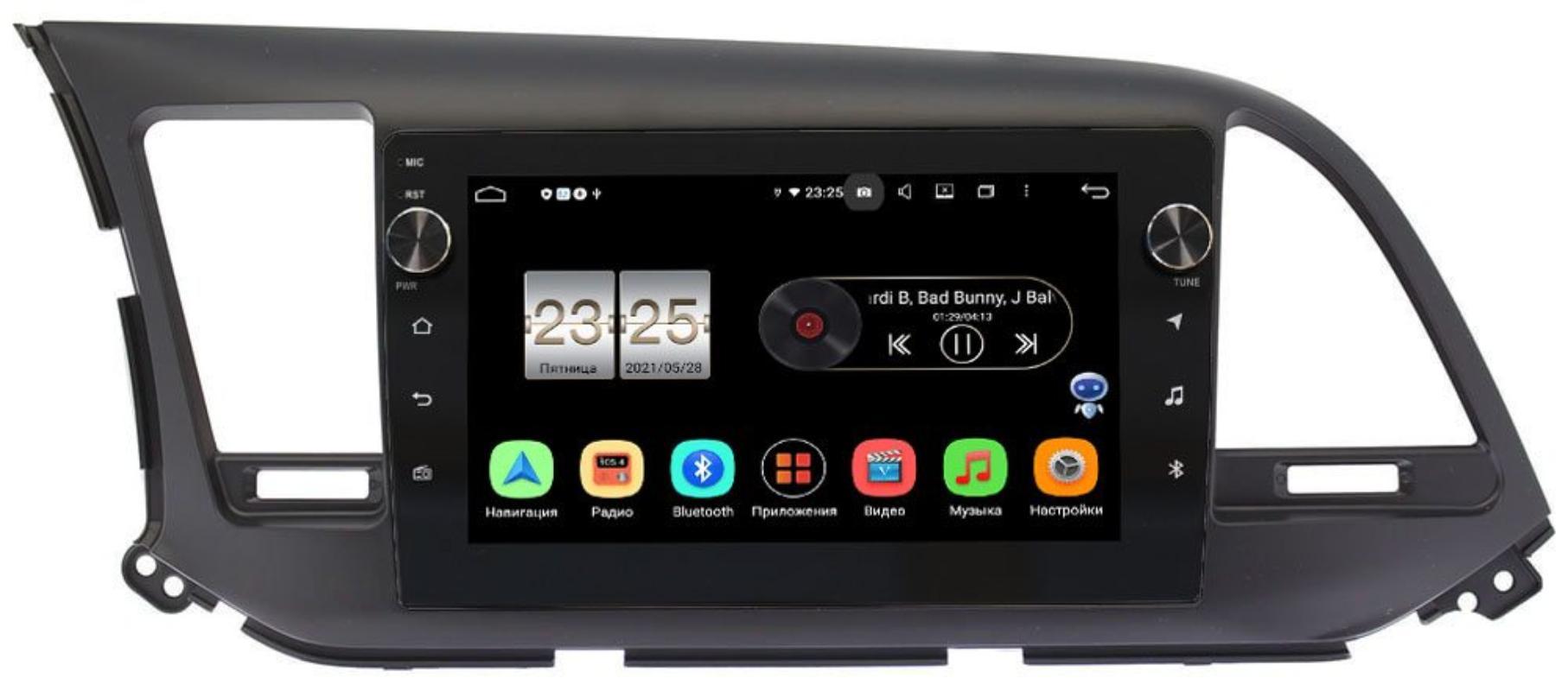 Штатная магнитола Hyundai Elantra VI (AD) 2015-2019 LeTrun BPX409-9025 для авто без камеры на Android 10 (4/32, DSP, IPS, с голосовым ассистентом, с крутилками) (+ Камера заднего вида в подарок!)