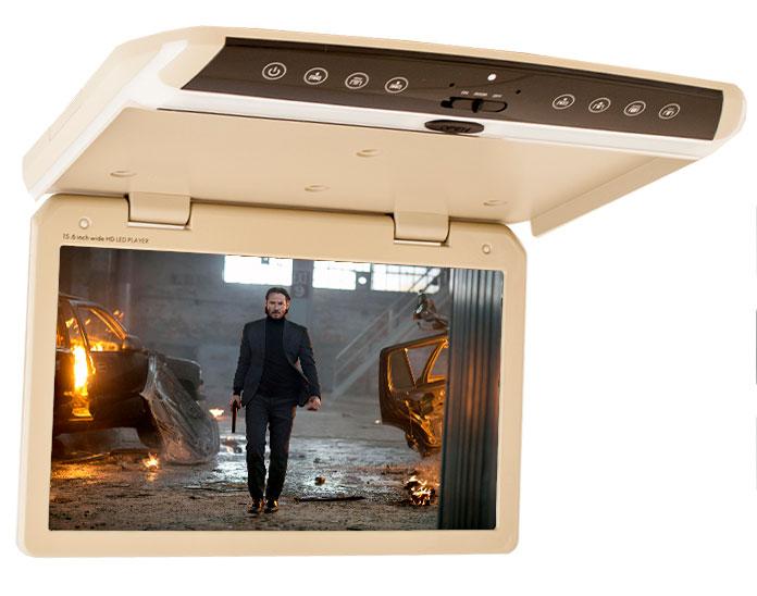 Автомобильный потолочный монитор 15.6 со встроенным Full HD медиаплеером ERGO ER156FH (бежевый) (+ Двухканальные наушники в подарок!)