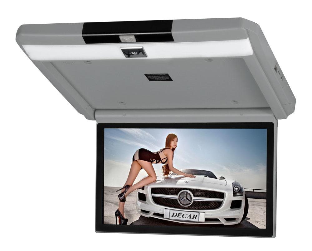 Автомобильный потолочный монитор 13.3 с медиаплеером FarCar-Z004 (серый) (+ Двухканальные наушники в подарок!)