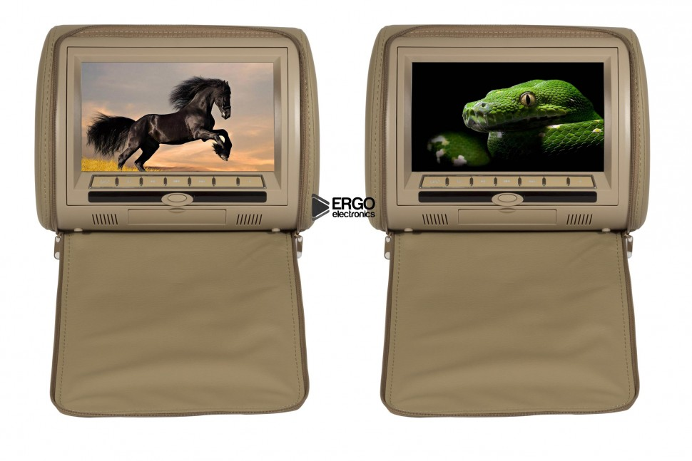 Комплект автомобильных DVD подголовников ERGO ER900HD (бежевый) 2x 9 inch leather cover car headrest monitor dvd video player tft lcd screen support usb sd fm game speaker wireless headphone