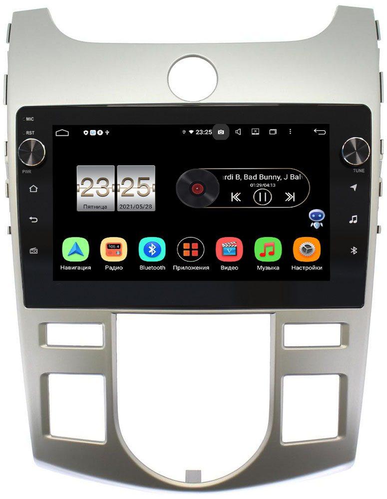 Штатная магнитола Kia Cerato II 2009-2013 (серебро) LeTrun BPX609-9019 для авто с климатом (тип 1) на Android 10 (4/64, DSP, IPS, с голосовым ассистентом, с крутилками) (+ Камера заднего вида в подарок!)