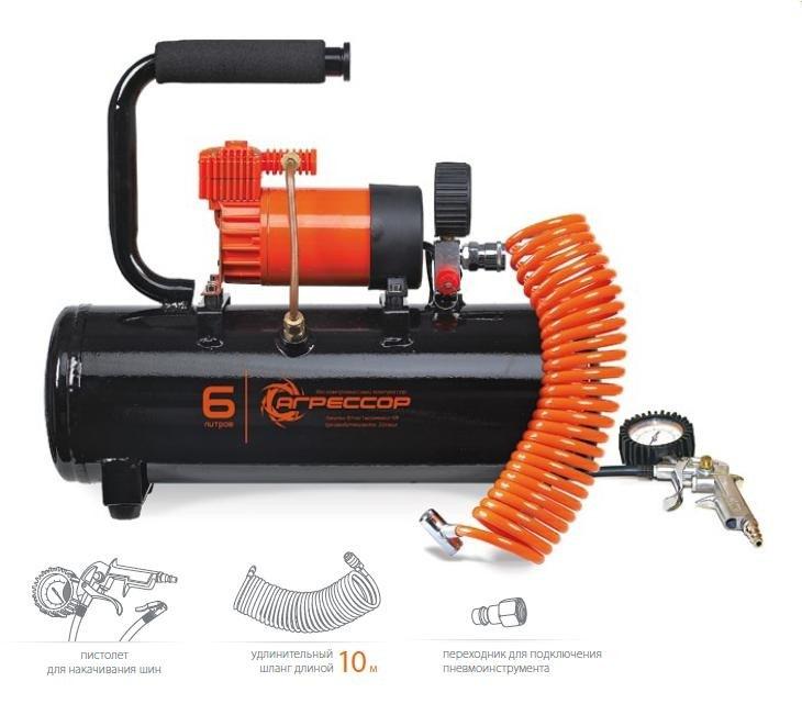 Автомобильный компрессор Агрессор AGR-6LT с ресивером 6л автомобильный компрессор агрессор agr 3lt с ресивером 3л