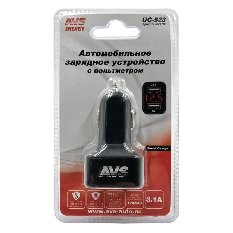 Автомобильное зарядное устройство AVS UC-523 с вольтметром (2-USB,3.1А) зарядка usb от авто прикуривателя exocharge белая