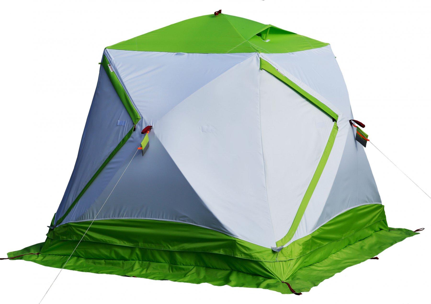Палатка ЛОТОС Куб Классик Термо Серый, Зеленый (+ Дарим комплект ввертышей для палаки.)