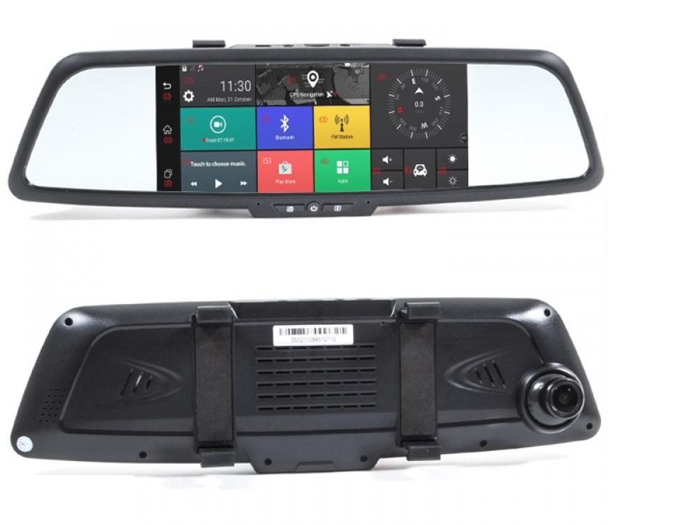 Зеркало заднего вида AVS0333DVR с сенсорным монитором 7, двухканальным видеорегистратором и навигатором на ОС Android (+ Разветвитель в подарок!) телефоны со встроенным gps навигатором