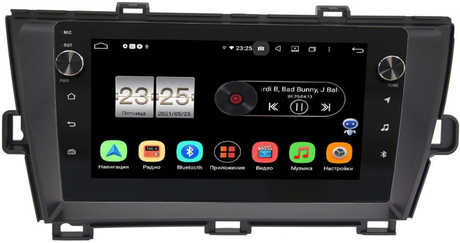 Штатная магнитола LeTrun BPX609-195 для Toyota Prius III (XW30) 2009-2015 (правый руль) на Android 10 (4/64, DSP, IPS, с голосовым ассистентом, с крутилками) (+ Камера заднего вида в подарок!)