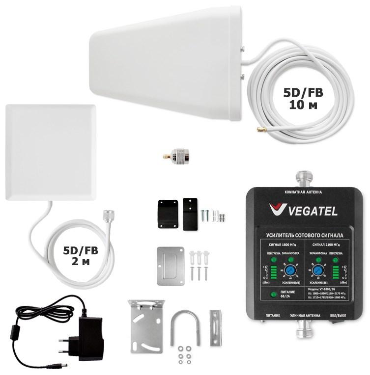 Усилитель сотовой связи VEGATEL VT-1800/3G-kit (дом, LED) (+ кронштейн для антенны)Комплекты для помещений<br>Комплект VEGATEL VT-1800/3G-kit (дом, LED) разработан специально для домашнего использования, его практично будет установить в квартире, небольшом частном доме, на даче. Для выезда за город, нам хочется всегда иметь возможность общения. Комплект VEGATEL VT-1800/3G-kit (дом, LED) прекрасно выполняет все Ваши желания, он усиливает и восстанавливает уровень голосового сигнала сотовой связи, обеспечивает доступ к скоростному интернету, в двух диапазонах GSM-1800 и UMTS-2100 (3G).