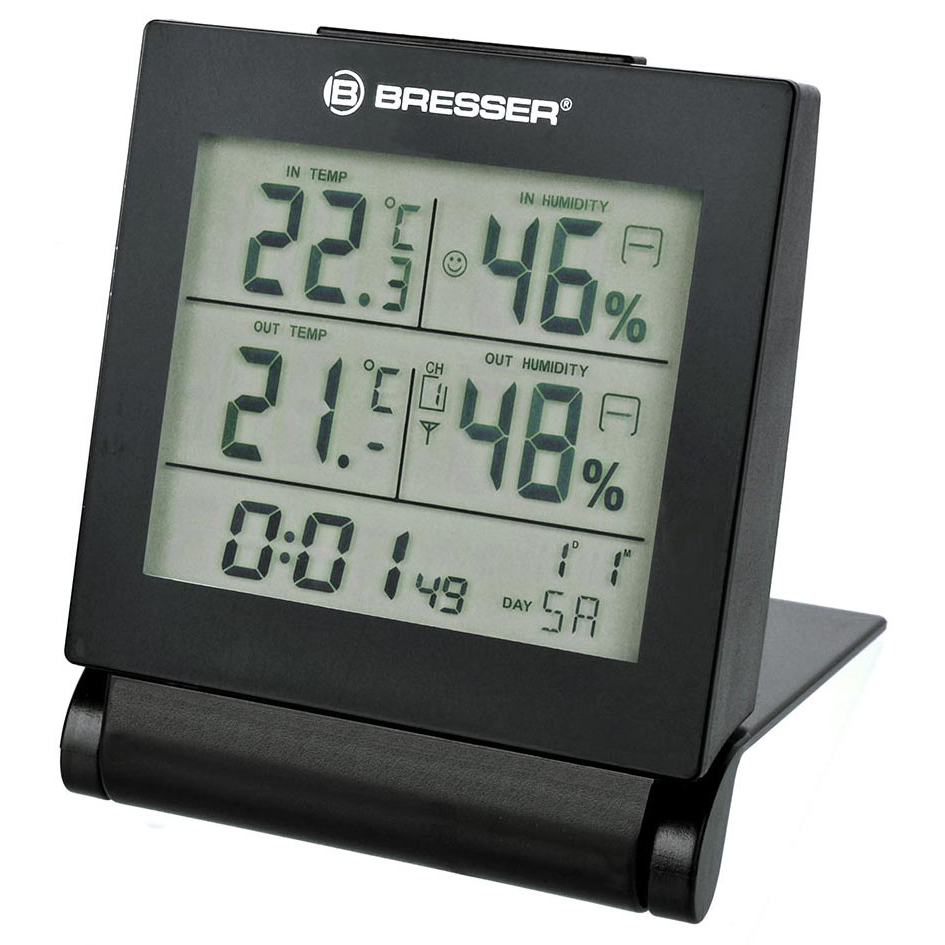 Метеостанция Bresser MyTime Travel Alarm Clock (+ Салфетки из микрофибры в подарок) метеостанция bresser climatemp xxl в корпусе под дерево салфетки из микрофибры в подарок