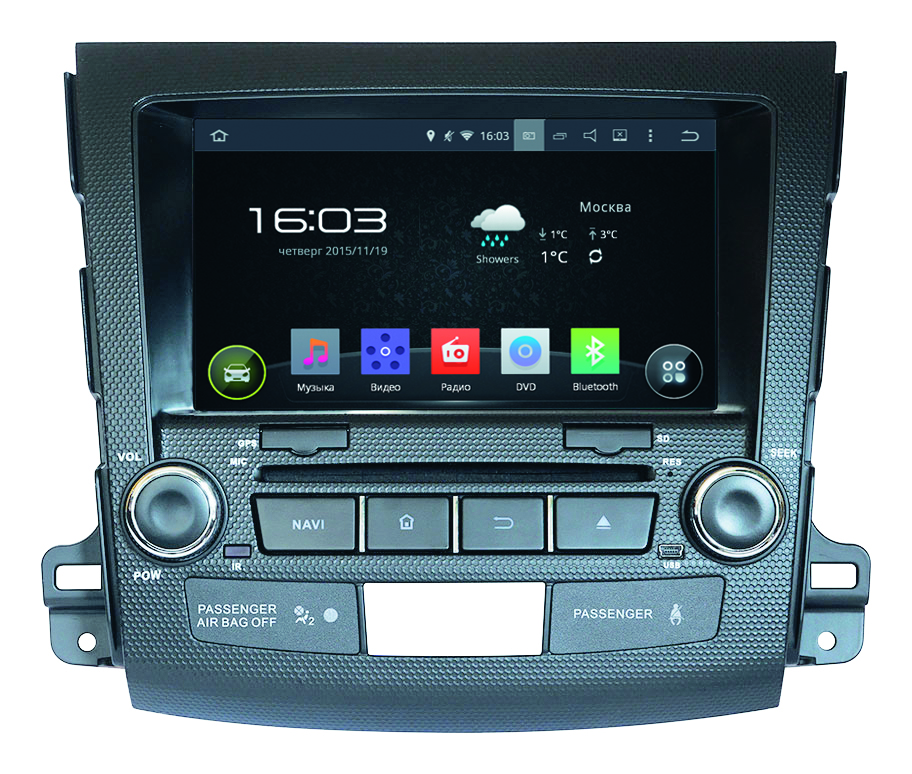 Штатная магнитола Incar AHR-6181 Mitsubishi Outlander 2008-2013 на Android 4.4.4 ssangyong actyon ос андроид intro incar ahr 7781 sy