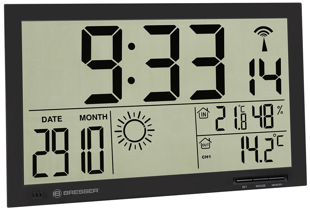Метеостанция (настенные часы) Bresser MyTime Jumbo LCD, черная (+ Салфетки из микрофибры в подарок) метеостанция bresser climatemp xxl в корпусе под дерево салфетки из микрофибры в подарок
