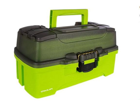 Ящик PLANO 6201 с одно уровн.й системой хранения приманок и двумя боковыми отсеками на крышке, цвет ярко-зеленый