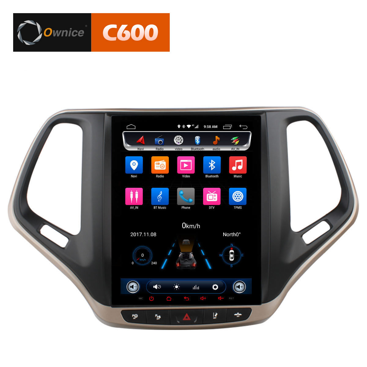 Штатная магнитола CARMEDIA OL-9256-9 Tesla Style (C600+) Jeep Cherokee 2014+ 9 inch quad core tablet pc a33 atm7029 rom 8g 1024 600 pxl android 4 4 bluetooth fm hdmi android tablet 9 8 7