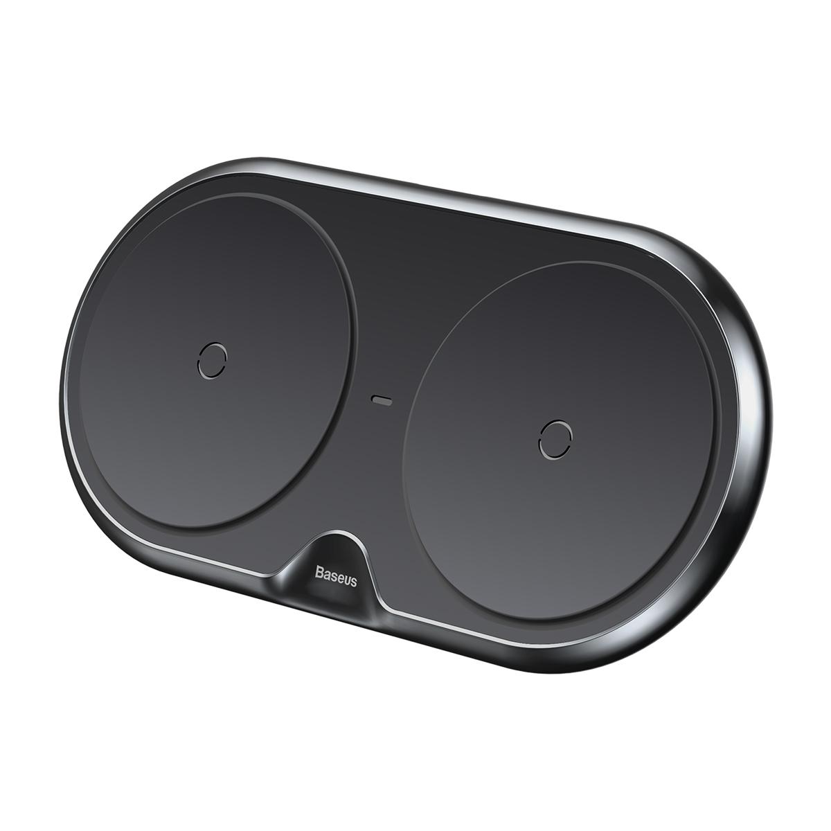 Беспроводное зарядное Baseus Dual Wireless Charger Black(With white EU Quick 3.0 Wall Charger&Cable as gift) цена и фото