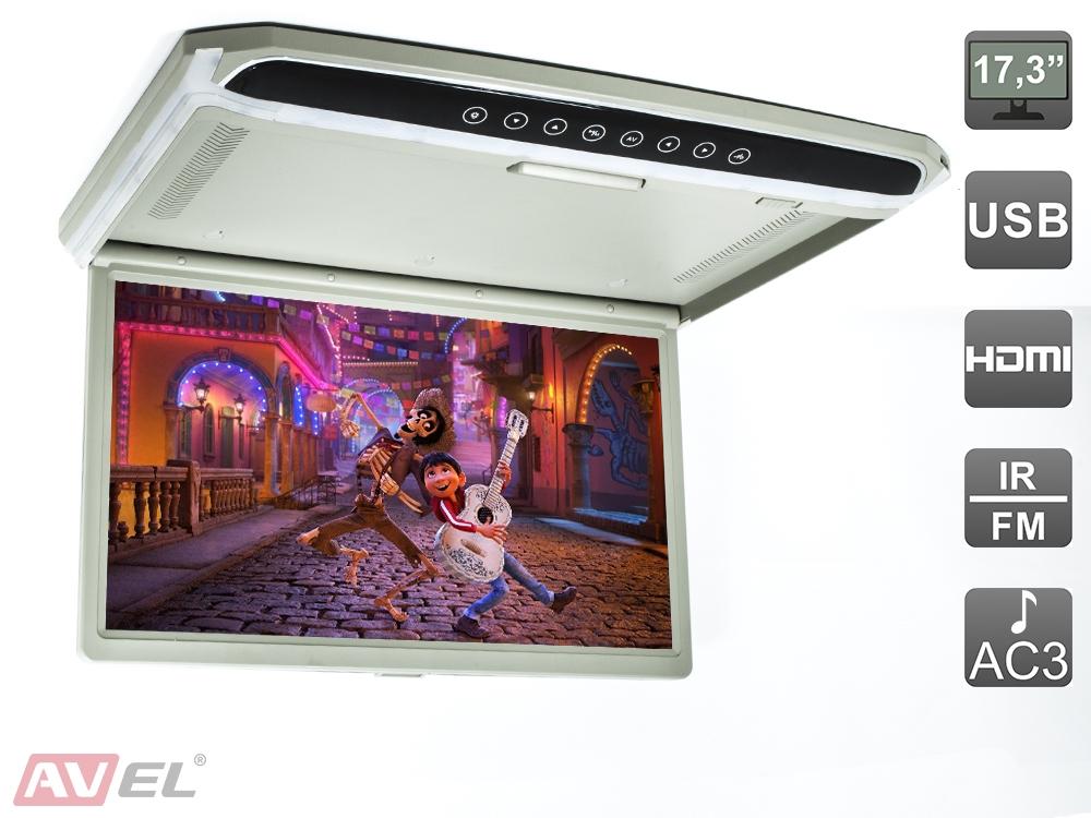 Автомобильный монитор AVEL AVS1707MPP серый (+ Салфетки из микрофибры в подарок) автомобильный потолочный монитор 17 3 avis avs117 черный салфетки из микрофибры в подарок