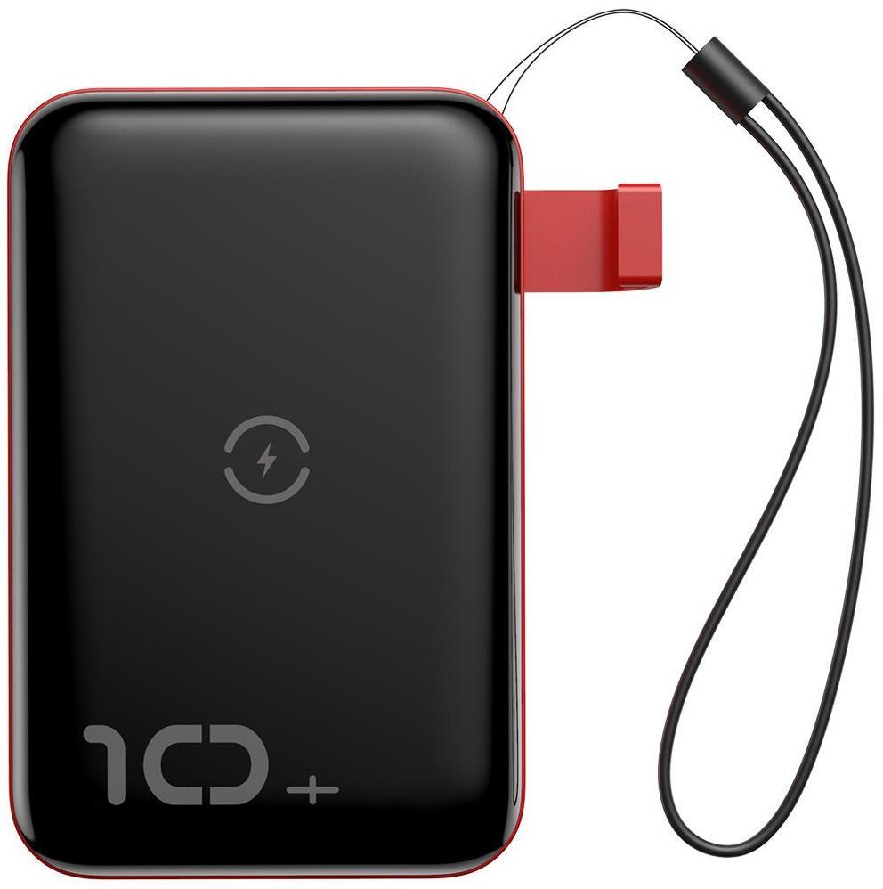 Портативное зарядное устройство Baseus Mini S Bracket 10W Wireless Charger 10000mAh 18W черный с красным