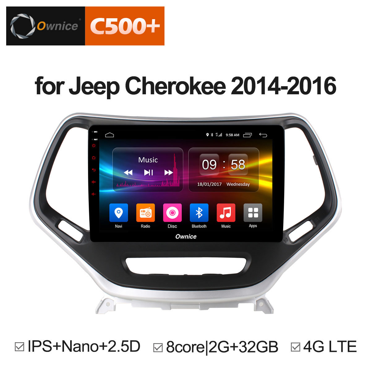 Штатная магнитола CARMEDIA OL-1253-8 (C500+) Jeep Cherokee 2014+ cige 10 1 inch octa core tablet pc android 6 0 4g lte ram 4gb 64gb rom 1920x1200 ips gps bluetooth tablets dhl free shipping
