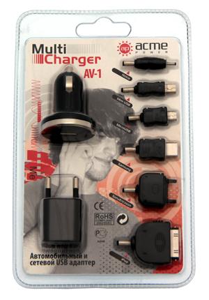 Автомобильный универсальный адаптер питания AcmePower AV-1 (11-13В, USB)