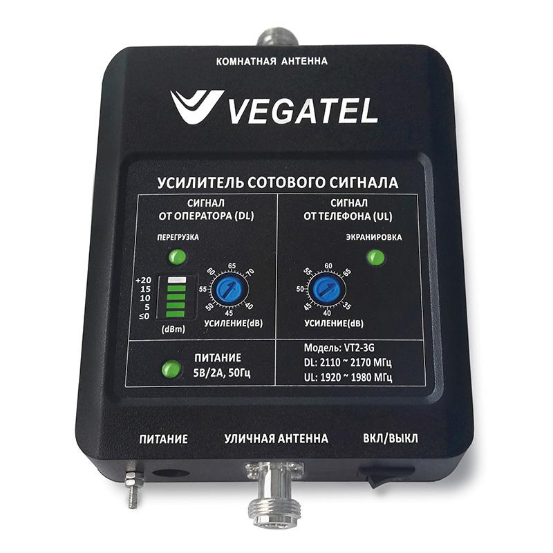 Усилитель сигнала сотовой связи (репитер) VEGATEL VT2-3G (LED) усилитель сотовой связи vegatel vt2 900e kit led