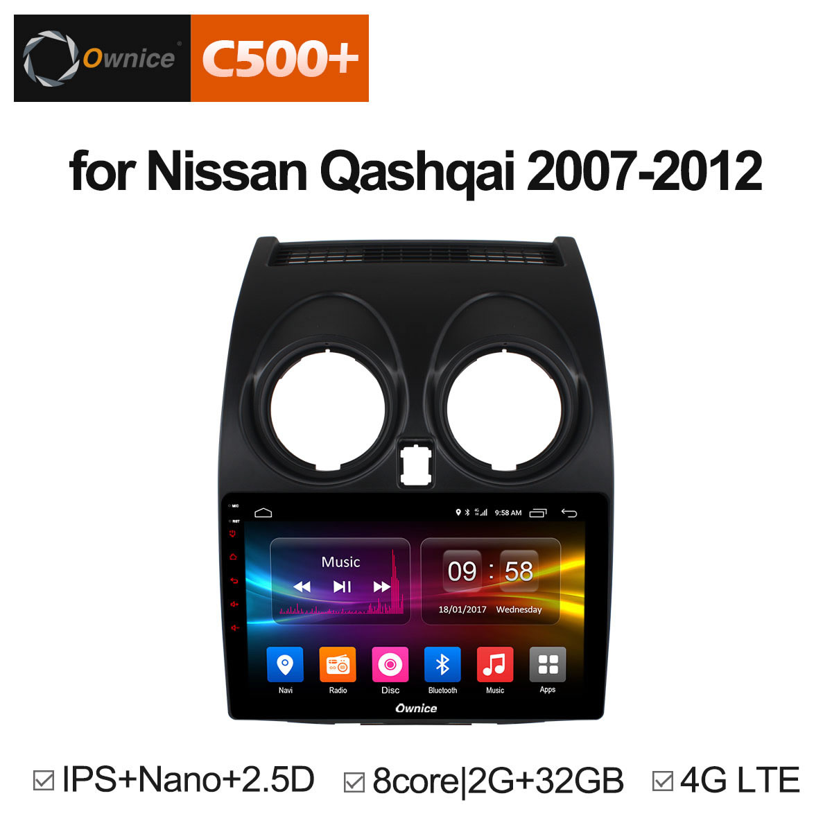 Штатная магнитола CARMEDIA OL-9662-8 (C500+) Nissan Qashqai 2006-2013