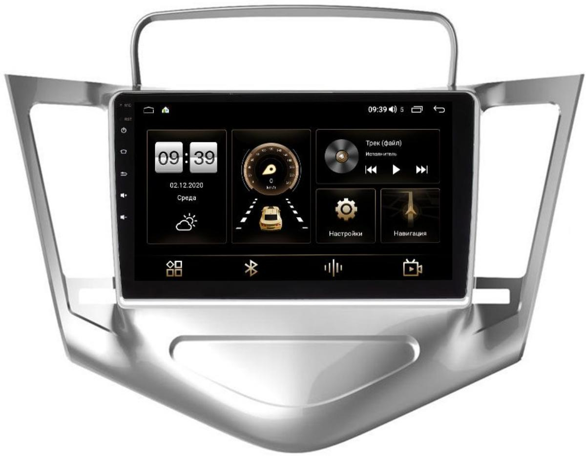 Штатная магнитола LeTrun 4196-9-128 для Chevrolet Cruze I 2009-2012 (серебро) на Android 10 (6/128, DSP, QLed) С оптическим выходом (+ Камера заднего вида в подарок!)