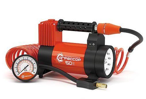 Компрессор автомобильный Агрессор AGR-50L компрессор автомобильный агрессор agr 30l металлический 12v 140w производ сть 30 л мин led фонарь сумка 1 8
