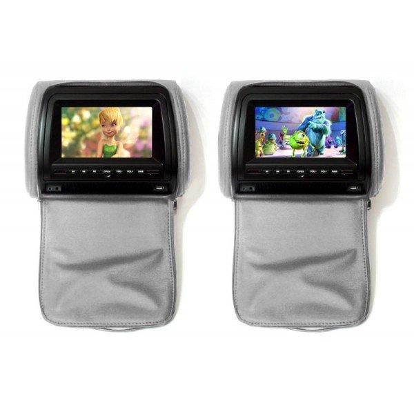 Комплект автомобильных DVD подголовников ERGO ER900HD (серый) 2x 9 inch leather cover car headrest monitor dvd video player tft lcd screen support usb sd fm game speaker wireless headphone