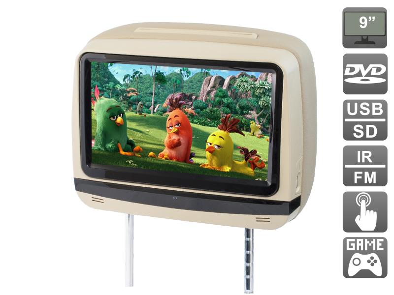 Подголовник с сенсорным монитором 9 и встроенным DVD плеером AVIS Electronics AVS0945T (бежевый) (+ беспроводные наушники в подарок!) беспроводные ик наушники avis avs004hp одноканальные