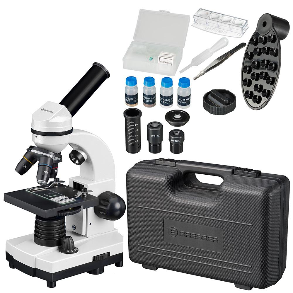 Фото - Микроскоп Bresser Junior Biolux SEL 40–1600x, белый, в кейсе (+ Салфетки из микрофибры в подарок) микроскоп bresser junior 40–640x с набором для опытов в кейсе