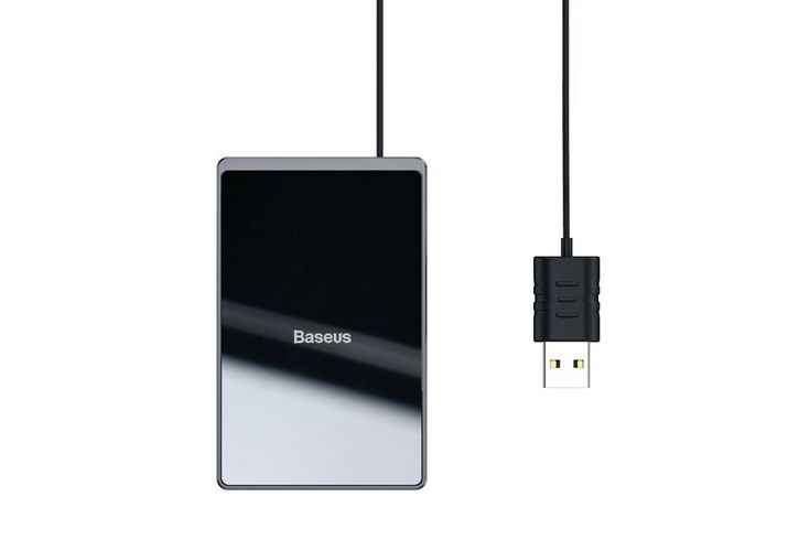 Беспроводная зарядка Baseus Card Ultra-thin Wireless Charger 15W (with USB cable 1m) Black