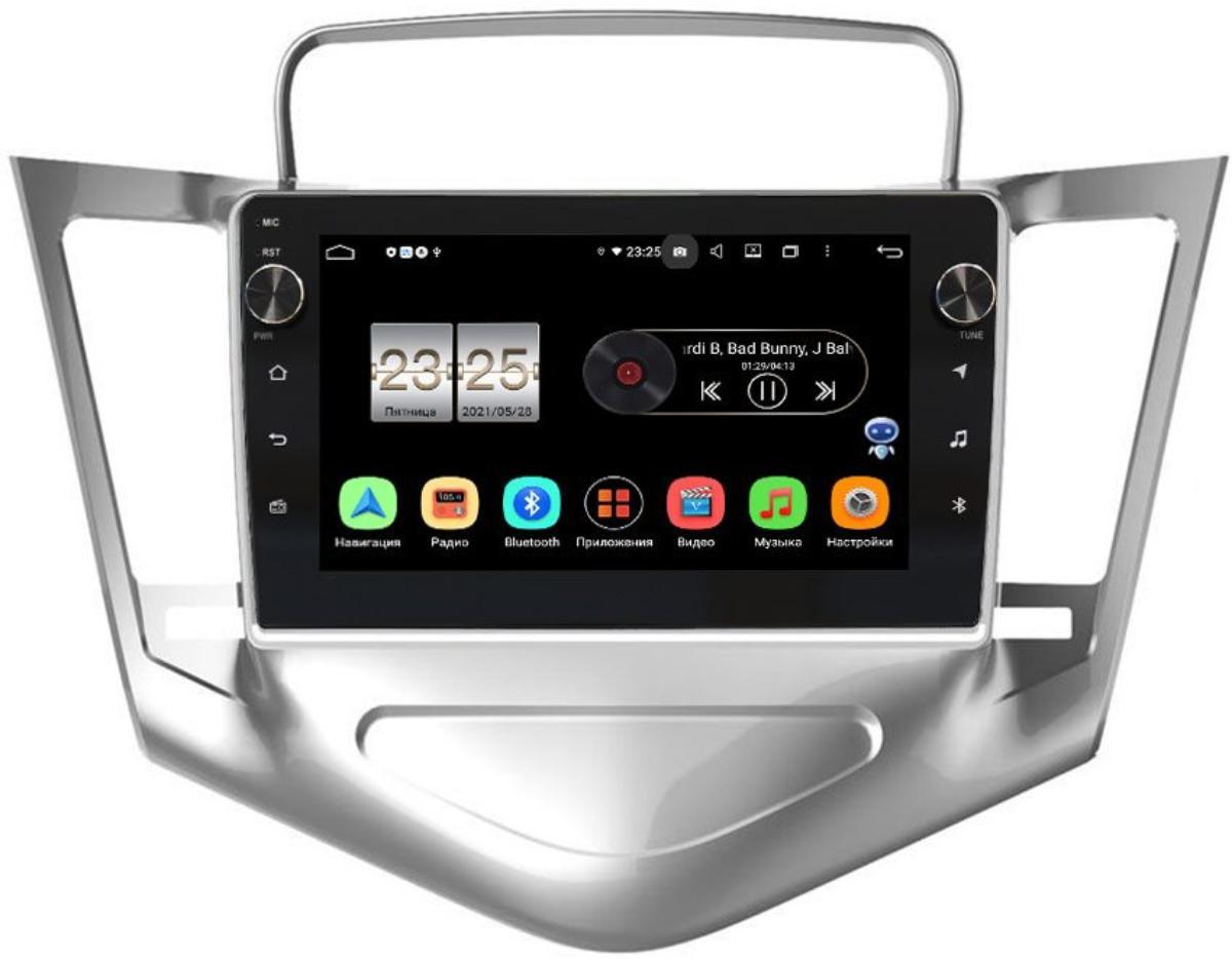 Штатная магнитола LeTrun BPX409-9-128 для Chevrolet Cruze I 2009-2012 (серебро) на Android 10 (4/32, DSP, IPS, с голосовым ассистентом, с крутилками) (+ Камера заднего вида в подарок!)