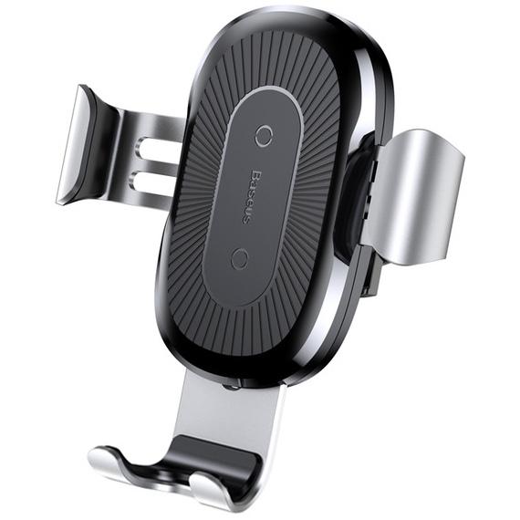 лучшая цена Автомобильный держатель для телефона в дефлектор с беспроводной быстрой зарядкой Baseus Gravity - Серебристый (WXYL-0S)