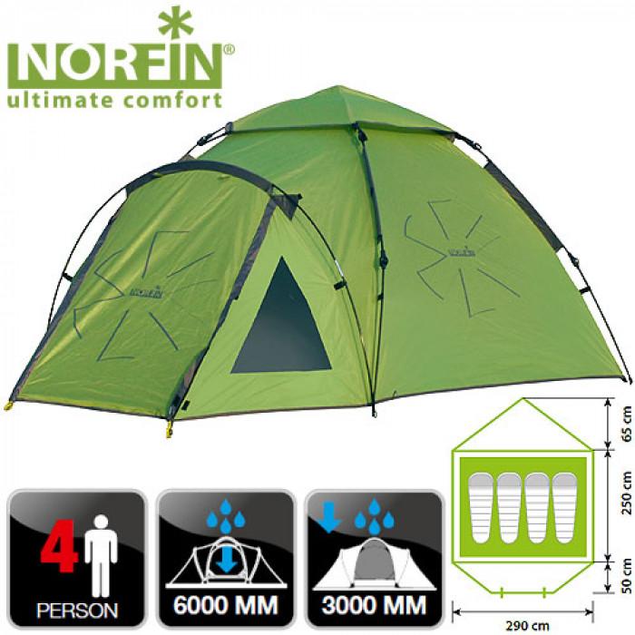 купить Палатка автоматическая 4-х мест. Norfin HAKE 4 NF недорого